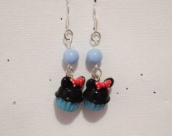 """Blue Cupcake"" earring round bead"