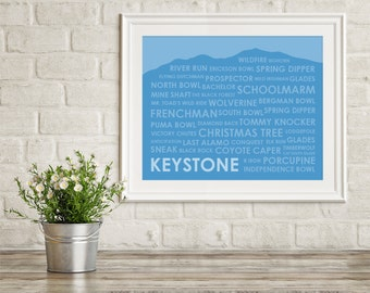 Keystone Ski Trails Print ~ Keystone CO Art Print ~ Gift for Skier ~ Keystone Colorado Art ~ Keystone Poster ~ Skiing Art Print ~ Ski Gift