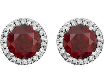 14k White Gold Mozambique Garnet & Diamond Round Halo Style Stud Earrings January Birthstone 1.68 CTW Garnet, 1/8 CTW Diamonds