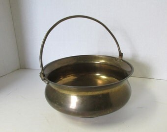 Vintage Brass Pot with Handle