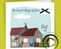 1 x Handmade Card Elstow Post Office, Elstow Village, John Bunyan, Bedford UK, Pilgrims Progress