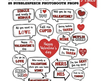 Valentine's day party bubble speech Photo booth props set - 25 pieces printable, photobooth, valentine party - PDF, INSTANT DOWNLOAD