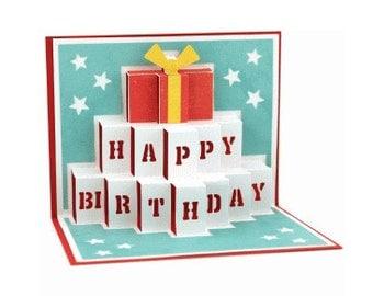 Happy Birthday Pop Up Card , Blank Inside , Free Confetti , friend , family , co-worker , 3D