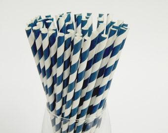 Paper Straws, 100 Navy Blue Stripe Paper Straws, Wedding Straws, Navy Straws, Birthday Paper Straws, Blue Paper Straws, Retro Paper Straws