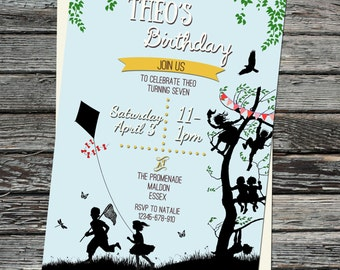 Picnic Birthday Party Invitations, Meadow, Tree, Lets go Fly a Kite Printable, Bunting Invite, Summer, Garden Invites, Children Silhouettes