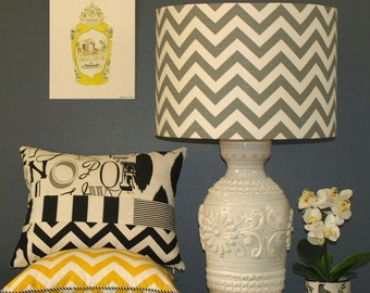 Australian Made Lampshade, Chevron Drum 43x 30cm, Available in 5 Colours and 2 Fittings, Made to Order 1-2 weeks