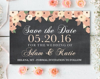 Rustic Save The Date Card, Chalkboard Save The Date, Rustic Save The Date, Wedding Printables