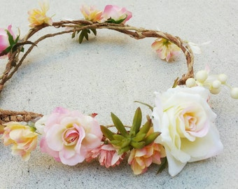 Floral Crown, Wedding Crown, Flower Hairpiece, Succulent Crown, Headpiece, Boho Crown, Whimsical Crown, Silk Flower Crown, Rustic