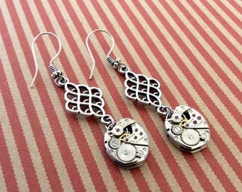 Wach Part Earrings, Gear Earrings, Elgin Earrings, Movement Earrings, Steampunk Earrings, Elgin Watch, Elgin Movement, Steampunk, Earrings