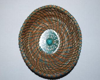 "Pine Needle Basket ""Lacey Turquoise Heart"""