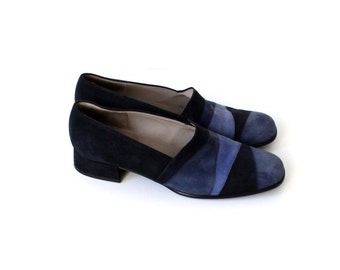 Vintage GABOR Blue Leather Suede Classic Shoes Size 39/6/8,5