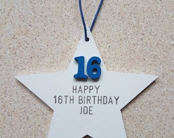 Personalised Wooden Star Birthday Age Plaque/Gift.