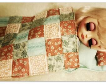 SALE! Ooak Plaid and Cushion Set for Blythe or similar dolls