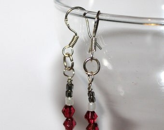 Bicone Beaded Earrings - Pink/Black - Comes with Gift Bag