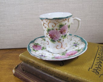 Bone China Teacup and Saucer Set - Green and Gold Accent - Pink Flowers