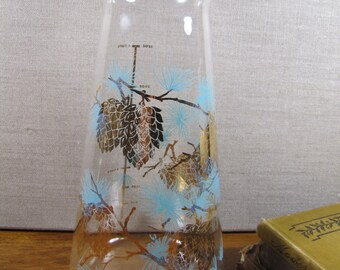 Retro - Vintage - Measured Glass Pitcher - Aqua Blue Pine Branches With Gold Pinecones
