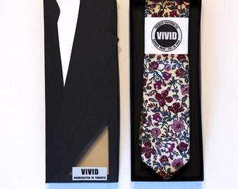 Floral Liberty Tie, Burgundy Neck Tie, Liberty of London
