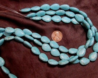 One 15 Inch Turquenite Bead Strand- 13mm x 18mm Puffed Teardrops- Magnesite dyed to resemble turquoise