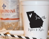 Plastic Wedding Cups • State of Love • United States Party Cups • Stadium Plastic Cups • Custom Personalized State and City Cups