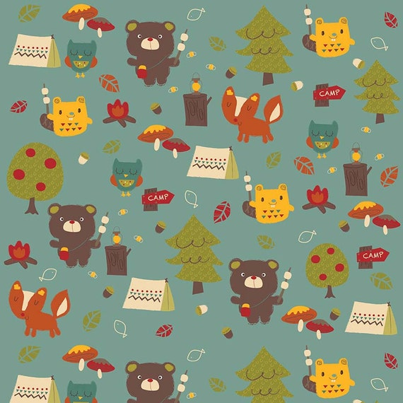 Sale camping fabric woodsy fabric childrens flannel bear for Childrens fabric sale