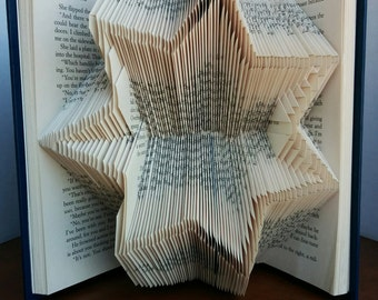 Police Star - Folded Book Art - Fully Customizable, 7 pointed star