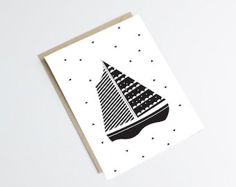 "Postcard ""BOAT"" - original print - perfect for a baby room - illustration boat with black triangles - black and white postcard"