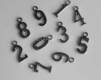 Numbers 0-9 Tibetan Silver Charms One Two Three Four Five Six Seven Eight Nine (004)