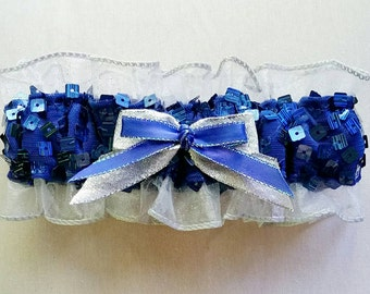 Royal Blue Sequin and Silver Glitter Prom Garter