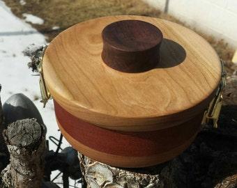 "6"" Upcycled Walnut, Cherry, & Mahogany Air Tight Jar. Made from scrap cabinet and guitar lumber, vegan."