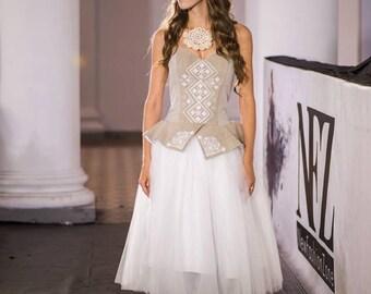 Boho Chic Wedding Dress With Hand-Embroidered, Vyshyvanka corset-dress, Contemporary bridal dress, Corset wedding gown, Modern folk//Ivanna
