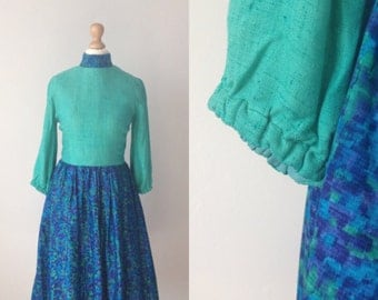 Vintage 60s Dress, 60s Blue Print Dress, Retro Dress, Long Sleeved Dress, Blue, Green, Size 8 Petite Small Womans Clothing