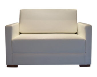 Urban Retro  Flip Out Cuddle Sofabed Upholstered in A  Premium White Faux Leather
