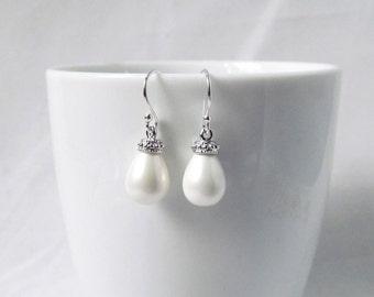 pearl earrings sterling silver,bridesmaids pearl earrings, wedding earrings, pearl jewelry, pearl dangle earring,