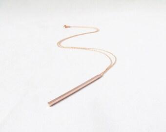 rose gold bar necklace, vertical bar necklace, rose gold necklace, rose gold jewelry