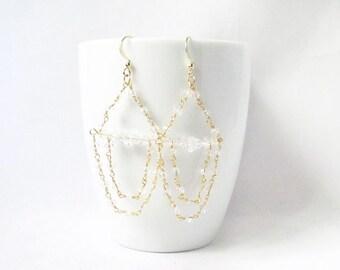 gold bridal chandelier earrings,crystal chandelier earrings, beaded chandelier earrings, wedding earrings