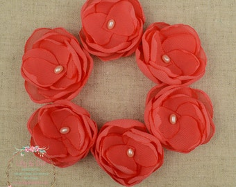 Coral - Hair Flower - Coral Flower Clips - Coral Wedding - Hair Flower Clips - Coral Bridesmaids - Coral Flower Girls - Wedding Guest
