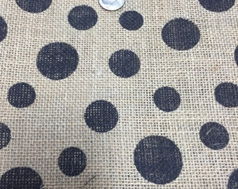 Black Dot Burlap By the yard