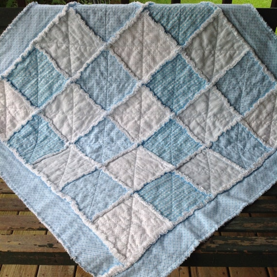 Plaid Baby Quilt: Baby Boy Girl Blue White Rag Quilt For Sale Dot Stripe Plaid