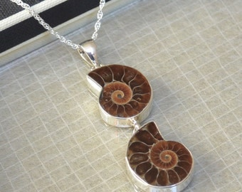 Ammonite Sterling Silver Double Pendant
