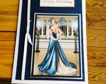 Handcrafted Art Deco style Birthday Card