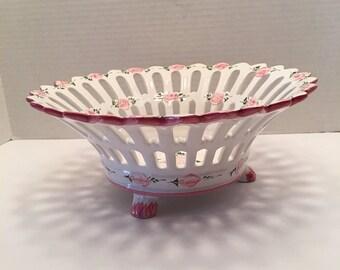 Vintage Portugal Bowl ~ Pink and White Latticework ~ Shabby Chic