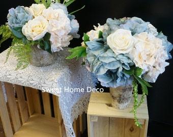 JennysFlowerShop Silk Dusty Ivory Flower Arrangements Countryside Wedding Centerpieces in Birch Bark Vases