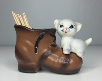 vintage cat and boot toothpick holder TOO CUTE