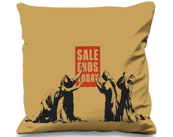 Banksy Sale Ends Today Faux Silk 45cm x 45cm Sofa Cushion