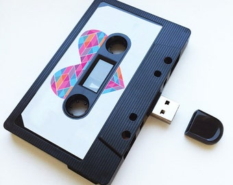 4GB/8GB/16GB USB Mix tape - Retro Personalized Gift -  Love, Birthday, Wedding Present ,Aztec, Girlfriend, Bestfriend , Sister - Flash Drive