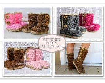 Crochet Patterns Buttoned Boots - ALL sizes Crochet Pattern Slippers - Baby Booties Toddler Children Adult Winter Boots Pattern Pack Women