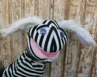 Hand Puppet animal with white fluffy ears, moving mouth und funny tongue Ready to ship OOAK