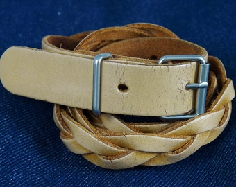Belt vintage braided belt braided natural leather camel Brown natural light brown size 36 small size S