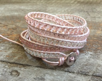 Gracie Pink Beaded Wrap Bracelet