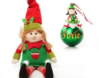 Girl Elf Shelf Sitter and Bauble Pack